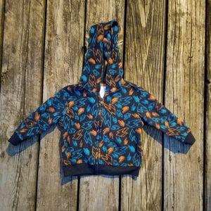 Boys full zip up hooded fleece jacket